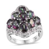 Northern Lights Mystic Topaz, White Zircon Platinum Over Sterling Silver Ring (Size 10.0) TGW 8.850 cts.