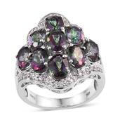 Northern Lights Mystic Topaz, White Zircon Platinum Over Sterling Silver Ring (Size 9.0) Total Gem Stone Weight 8.850 Carat