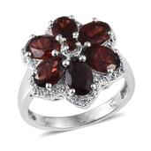 Mozambique Garnet, White Topaz Platinum Over Sterling Silver Ring (Size 7.0) TGW 6.380 cts.