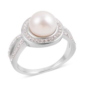 Simulated Pearl, Austrian Crystal Sterling Silver Split Ring (Size 7.0)