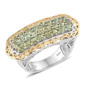 Ambanja Demantoid Garnet 14K YG and Platinum Over Sterling Silver Ring (Size 7.0) TGW 3.500 cts.