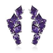 Amethyst Platinum Over Sterling Silver Earrings TGW 7.92 cts.