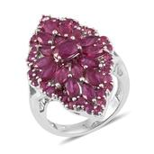 Niassa Ruby Platinum Over Sterling Silver Elongated Split Ring (Size 5.0) TGW 9.100 cts.
