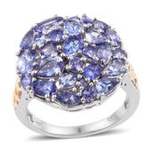 Tanzanite 14K YG and Platinum Over Sterling Silver Cluster Ring (Size 7.0) TGW 5.050 cts.