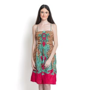 Maroon and Fuschia 100% Cotton Sundress with Elastic Waist Band (L/XL)