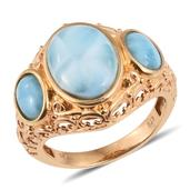 Larimar 14K YG Over Sterling Silver Openwork Trilogy Ring (Size 9.0) TGW 9.950 cts.
