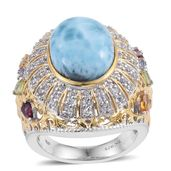 Larimar, Multi Gemstone 14K YG and Platinum Over Sterling Silver Statement Ring (Size 9.0) TGW 12.34 cts.