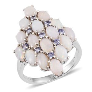 Australian White Opal, Tanzanite Platinum Over Sterling Silver Cluster Ring (Size 7.0) TGW 4.30 cts.