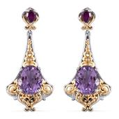 Royal Jaipur Rose De France Amethyst, Orissa Rhodolite Garnet 14K YG and Platinum Over Sterling Silver Openwork Dangle Earrings TGW 8.84 Cts.