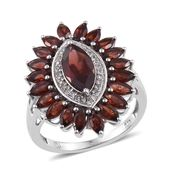 Mozambique Garnet, White Topaz Platinum Over Sterling Silver Ring (Size 7.0) TGW 5.650 cts.