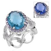 Color Change Fluorite, Tanzanite, White Topaz Platinum Over Sterling Silver Ring (Size 6.0) TGW 12.840 cts.