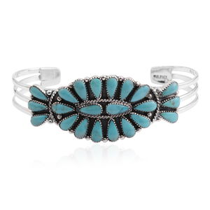 Santa Fe Style Kingman Turquoise Sterling Silver Cuff (6.5 in) TGW 20.00 cts.