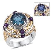 Color Change Fluorite, Amethyst 14K YG and Platinum Over Sterling Silver Ring (Size 7.0) TGW 7.700 cts.