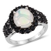 Ethiopian Welo Opal, Thai Black Spinel Platinum Over Sterling Silver Ring (Size 10.0) TGW 4.150 cts.