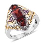 Mozambique Garnet, Madagascar Pink Sapphire 14K YG and Platinum Over Sterling Silver Ring (Size 7.0) TGW 4.400 cts.