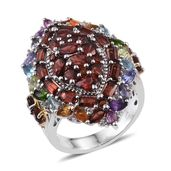 Multi Gemstone Platinum Over Sterling Silver Ring (Size 6.0) TGW 7.620 cts.