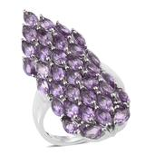 Bahia Amethyst Platinum Over Sterling Silver Elongated Cluster Ring (Size 6.0) TGW 8.24 cts.