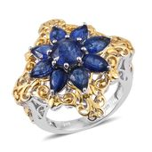 Himalayan Kyanite 14K YG and Platinum Over Sterling Silver Flower Ring (Size 7.0) TGW 5.20 cts.