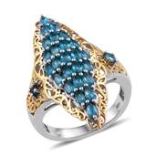 Malgache Neon Apatite 14K YG and Platinum Over Sterling Silver Ring (Size 7.0) TGW 2.120 cts.