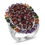 Mozambique Garnet, Multi Gemstone Platinum Over Sterling Silver Ring (Size 8.0) TGW 11.830 cts.