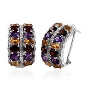 Rainbow Gems Amethyst, Mozambique Garnet, Brazilian Citrine Platinum Over Sterling Silver Earrings TGW 9.300 cts.