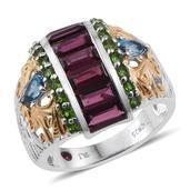 Royal Jaipur Orissa Rhodolite Garnet, Multi Gemstone 14K YG and Platinum Over Sterling Silver Openwork Ring (Size 8.0) TGW 4.700 cts.