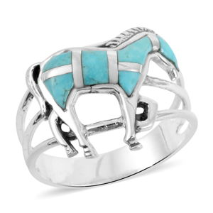 Santa Fe Style Kingman Turquoise Sterling Silver Horse Ring (Size 6.0) TGW 1.10 cts.