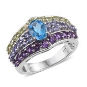 Rainbow Gems Electric Blue Topaz, Multi Gemstone Platinum Over Sterling Silver Ring (Size 7.0) TGW 3.695 cts.