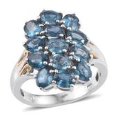 Teal Kyanite 14K YG and Platinum Over Sterling Silver Ring (Size 6.0) TGW 5.40 cts.