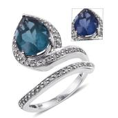 Color Change Fluorite, White Topaz Platinum Over Sterling Silver Ring (Size 9.0) TGW 7.420 cts.