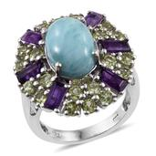 Larimar, Lusaka Amethyst, Hebei Peridot Platinum Over Sterling Silver Statement Ring (Size 6.0) TGW 9.100 cts.