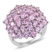 J Francis - Platinum Over Sterling Silver Cluster Ring Made with Pink SWAROVSKI ZIRCONIA (Size 8.0) TGW 20.470 cts.