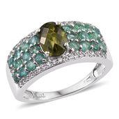 Vesuvianite, Kagem Zambian Emerald, White Topaz Platinum Over Sterling Silver Ring (Size 6.0) TGW 2.90 cts.