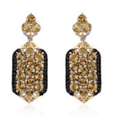 Marialite, Thai Black Spinel 14K YG and Platinum Over Sterling Silver Earrings TGW 7.74 Cts.