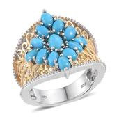 Arizona Sleeping Beauty Turquoise 14K YG and Platinum Over Sterling Silver Ring (Size 5.0) TGW 3.470 cts.