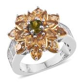 Vesuvianite, Brazilian Citrine, White Topaz 14K YG and Platinum Over Sterling Silver Flower Ring (Size 7.0) TGW 6.380 cts.