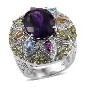 Rainbow Gems Amethyst, Multi Gemstone Platinum Over Sterling Silver Statement Ring (Size 8.0) TGW 14.12 cts.