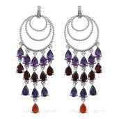 Rainbow Gems Multi Gemstone Platinum Over Sterling Silver Chandelier Earrings TGW 11.06 cts.