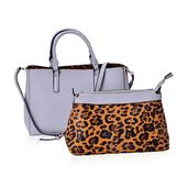 J Francis - Gray and Brown Leopard Print Faux Leather Handbag with Matching Set (16x5x10 in)