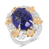Treasures from the Orient Lapis Lazuli, Madagascar Pink Sapphire 14K YG Over and Sterling Silver Ring (Size 6.0) TGW 11.600 cts.