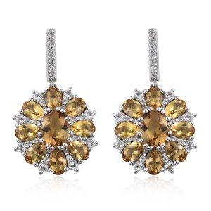 Marialite, White Topaz Platinum Over Sterling Silver Dangle Earrings TGW 10.93 cts.