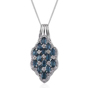 Teal Kyanite, White Topaz Platinum Over Sterling Silver Pendant With Chain (20 in) TGW 6.29 cts.