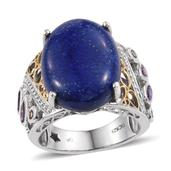 GP Lapis Lazuli, Multi Gemstone Platinum Over Sterling Silver Enlarged Openwork Ring (Size 9.0) TGW 21.390 cts.