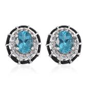 Madagascar Paraiba Apatite, Black Sapphire, White Topaz Platinum Over Sterling Silver Stud Earrings TGW 9.320 Cts.