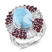 Larimar, Orissa Rhodolite Garnet, White Topaz Platinum Over Sterling Silver Statement Ring (Size 7.0) TGW 14.24 cts.