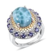Larimar, Tanzanite 14K YG and Platinum Over Sterling Silver Statement Ring (Size 7.0) TGW 12.800 cts.