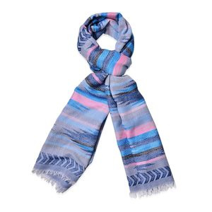 Blue and Multi Color 100% Polyester Santa Fe Pattern Scarf (74x28 in)