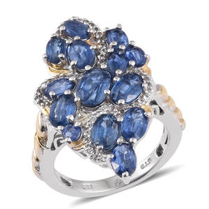 Himalayan Kyanite, White Topaz 14K YG and Platinum Over Sterling Silver Ring (Size 7.0) TGW 7.370 cts.