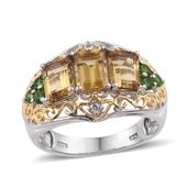 Marialite, Russian Diopside, White Topaz 14K YG and Platinum Over Sterling Silver Openwork Ring (Size 8.0) TGW 3.46 cts.