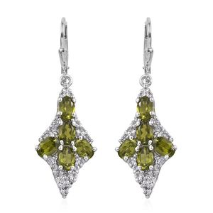 Vesuvianite, White Topaz Platinum Over Sterling Silver Lever Back Earrings TGW 6.441 Cts.